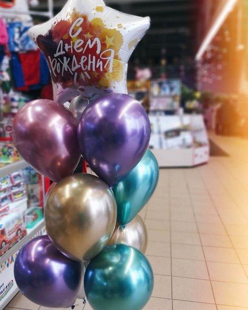 Фольгированные шары букет на день рождения с звездой