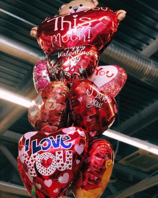 Шарики сердца - Букет фольгированных сердечек