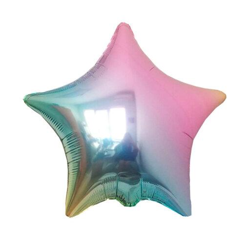 Фольгированная звезда шарик разноцветная